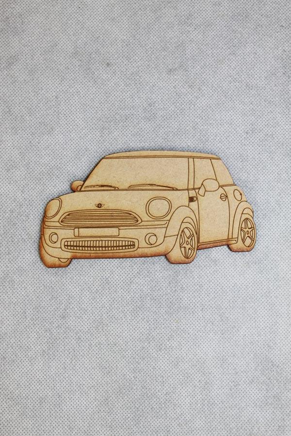 mini cooper lasergesneden uit hout