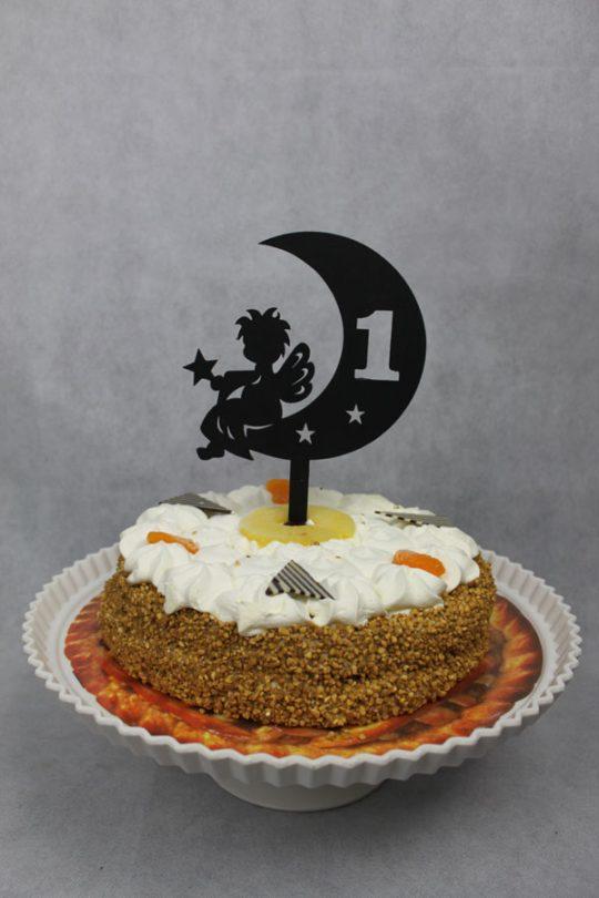 taarttopper kindje op de maan zwart hout