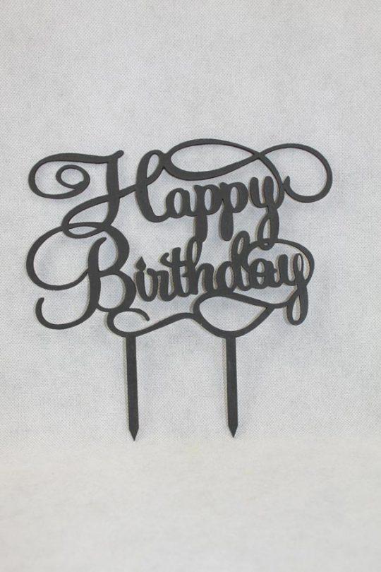 taarttopper happy birthday gemaakt van hout