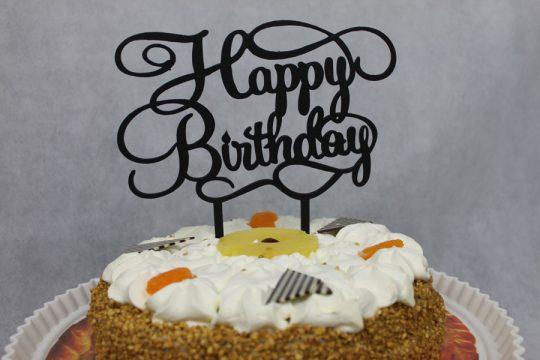 houten zwarte taarttopper met tekst happy birthday