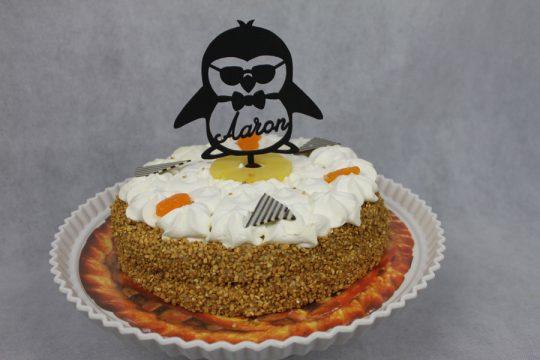 pinquin taarttopper met willekeurige naam